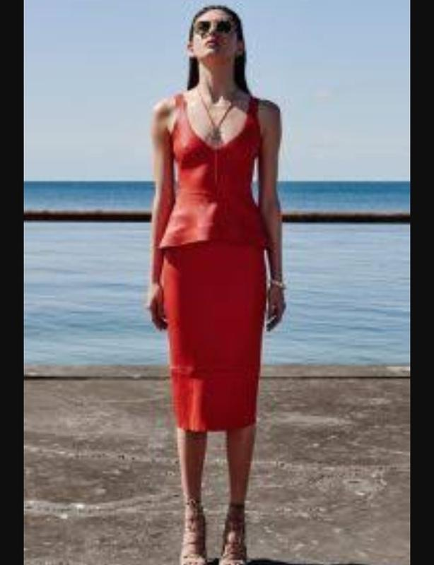 Scanlan Theodore red leather SKIRT and TOP