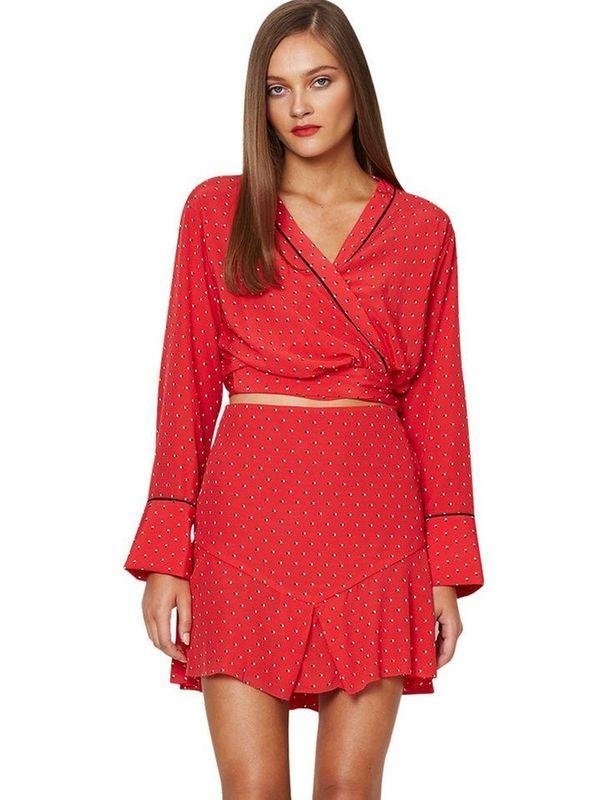 FOR HIRE: BEC + BRIDGE BELLE AMIE SKIRT AND TOP BLOUSE SET RED size 8