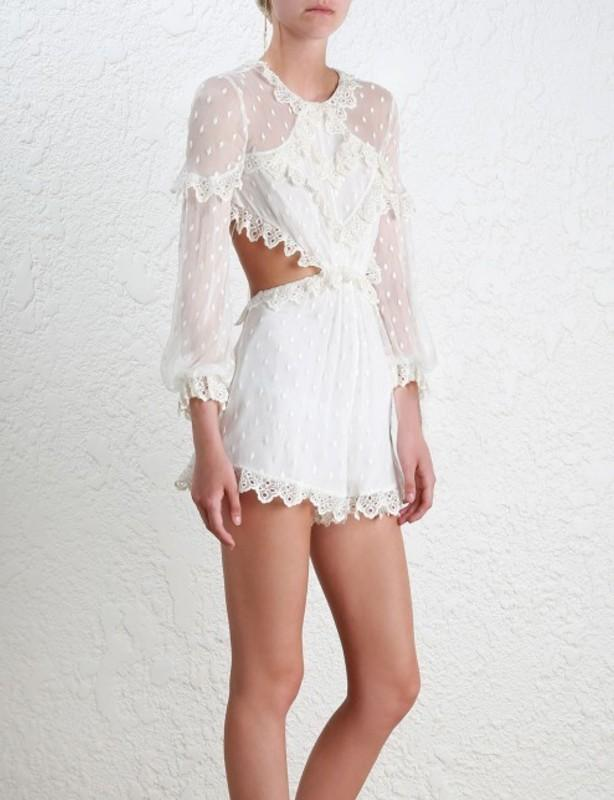 ZIMMERMANN DIVINITY SCALLOP PLAYSUIT IN WHITE IVORY