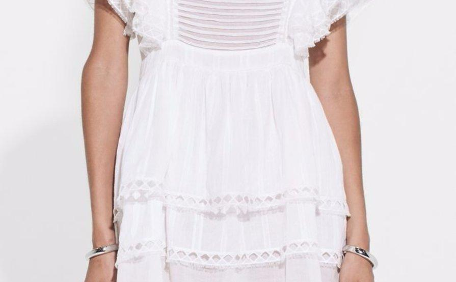 SIR THE LABEL DYLAN RUFFLED MINI DRESS IN WHITE size 0