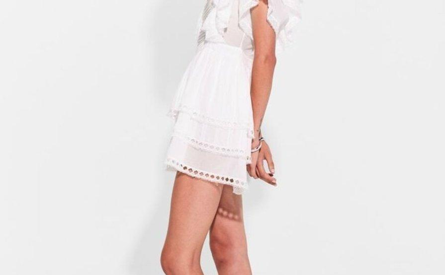 SIR THE LABEL DYLAN RUFFLED MINI DRESS IN WHITE size 1