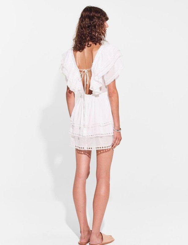 SIR THE LABEL DYLAN RUFFLED MINI DRESS IN WHITE