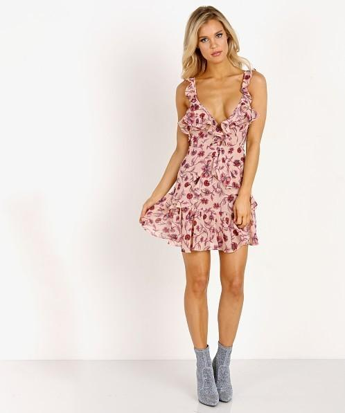 For Love and Lemons Poppy Mini Dress in Soft Rose Pink size 10  5939ab761