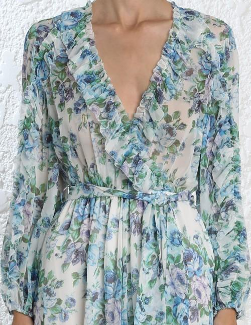 aab1bb76789 Zimmermann - Whitewave Ruffle Playsuit Blue Floral Sz 10