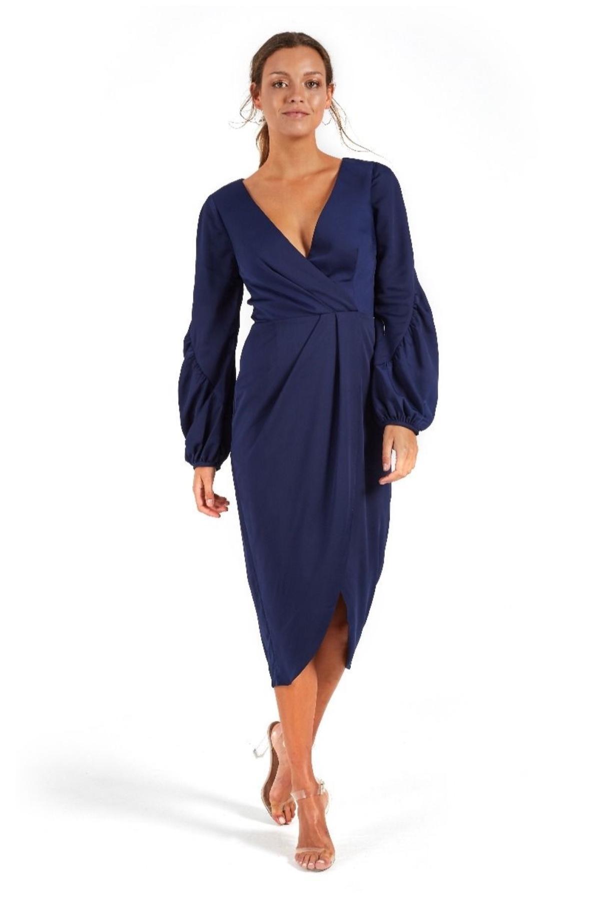 673bb673161 COOPER ST  Florence Long Sleeve Drape Dress  Navy Size 16