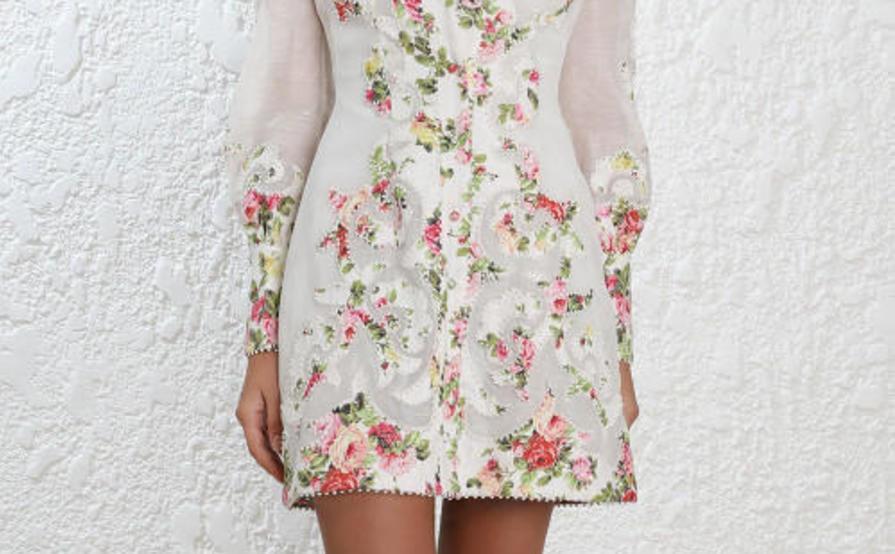 Zimmermann radiate applique floral shirt dress size the volte
