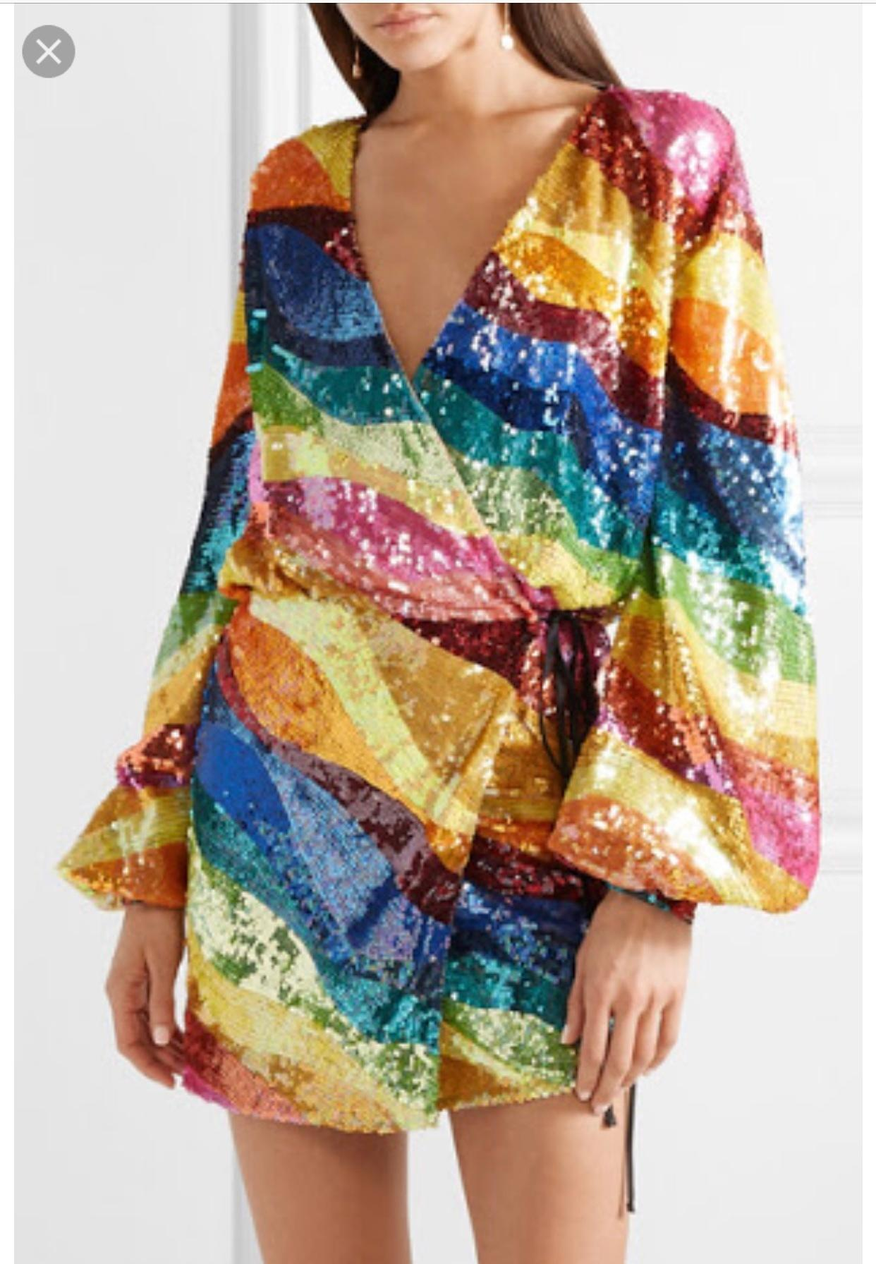 Attico Rainbow Wrap Dress Size 6 The Volte