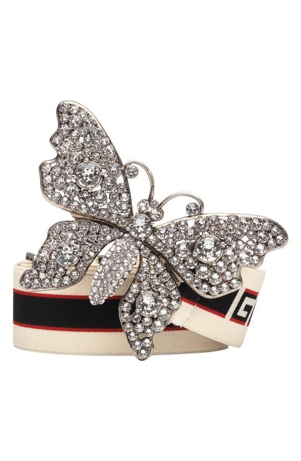0b794cf5950 ... GUCCI Crystal Butterfly Web Logo Belt ...