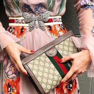 74d2d009e55 ... GUCCI Crystal Butterfly Web Logo Belt
