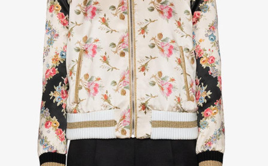 83de1449d GUCCI - Rose print silk bomber jacket   The Volte