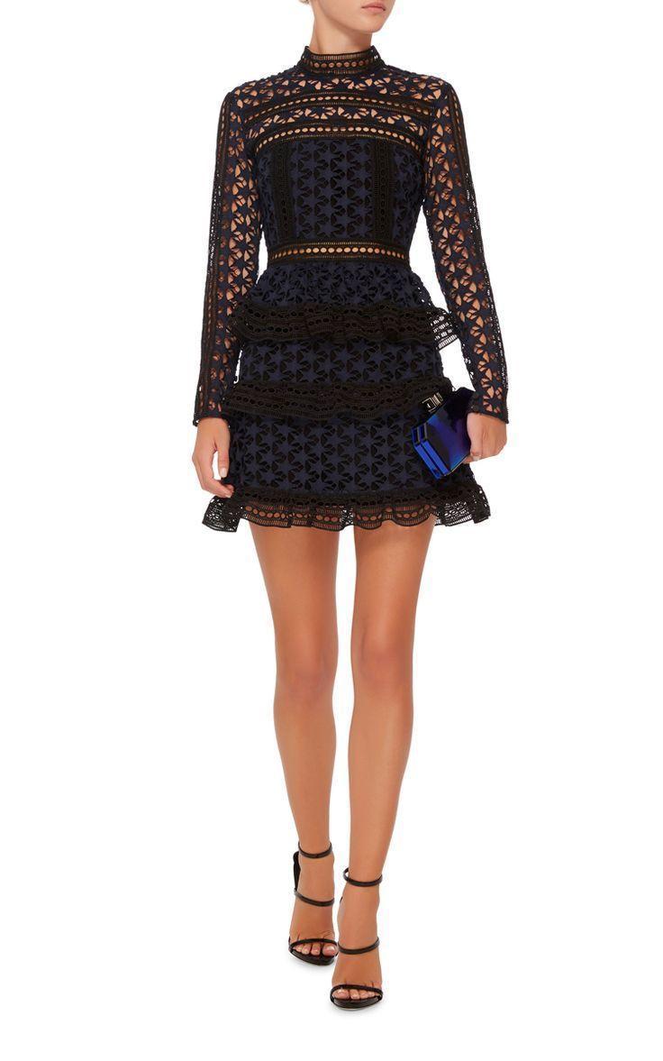 5a1511ee3c74 SELF PORTRAIT High Neck Star Lace Dress Size 12   The Volte