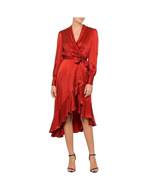 Zimmermann Terracotta Wrap Dress Size 14 The Volte