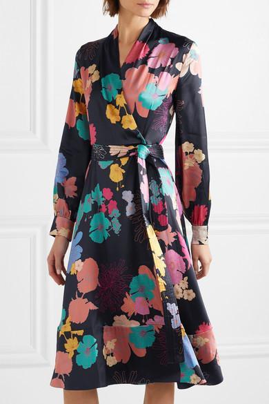 Size Print Dress Blend Reflection Floral Goya Silk Satin Stine Wrap PwS1zqn
