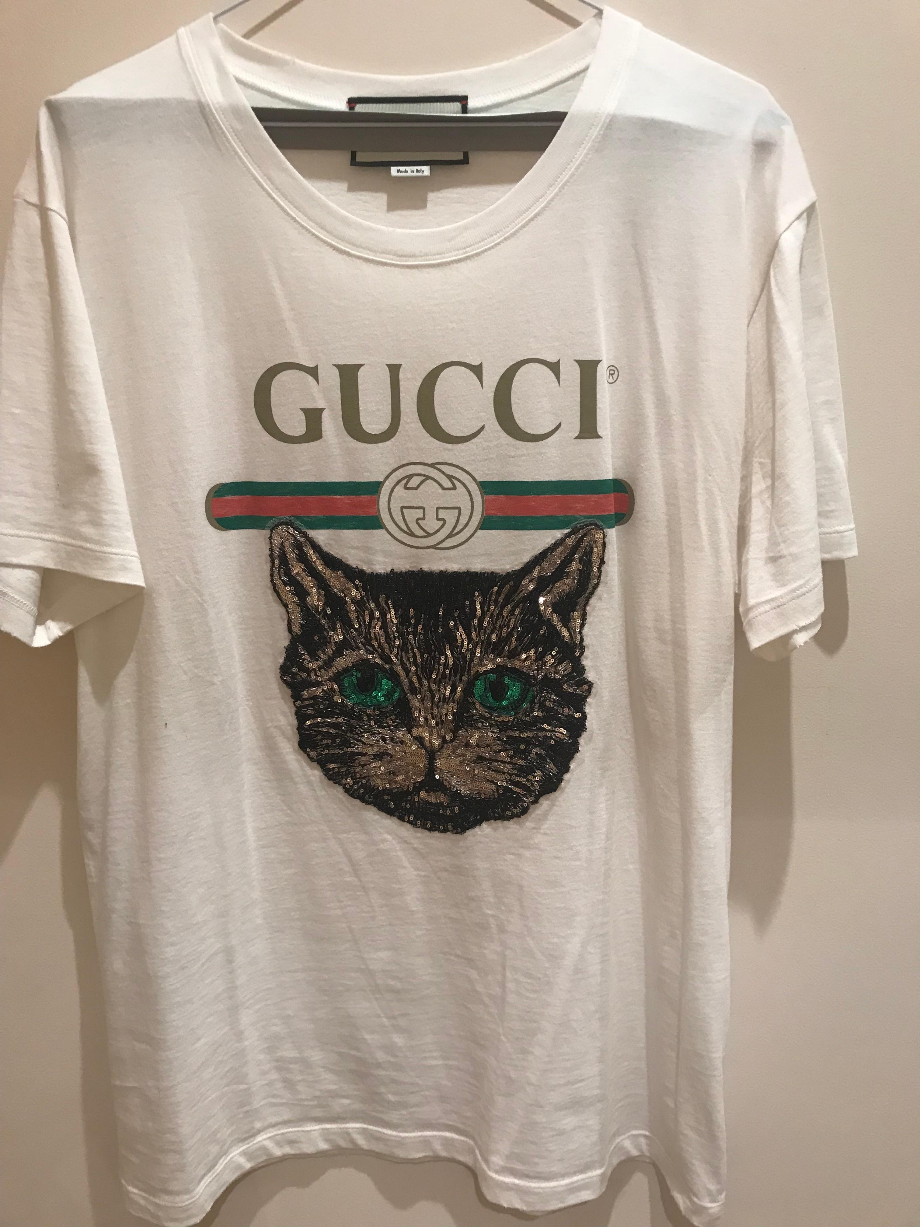 Gucci Logo T Shirt Mystic Cat Sequin Size M Aus 10