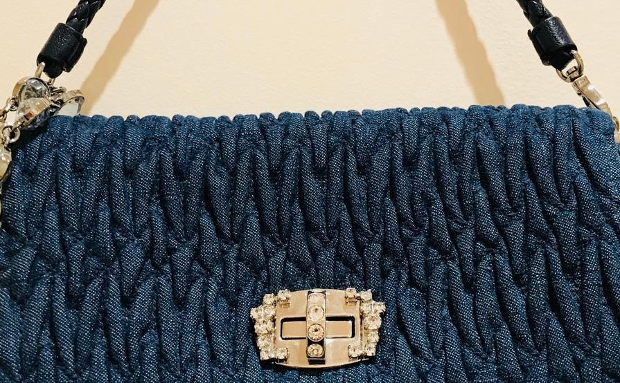 f376fc294cc5 Miu Miu Crystal Clutch Matelasse Denim Small - (Detachable Leather and Crystal  strap) ...