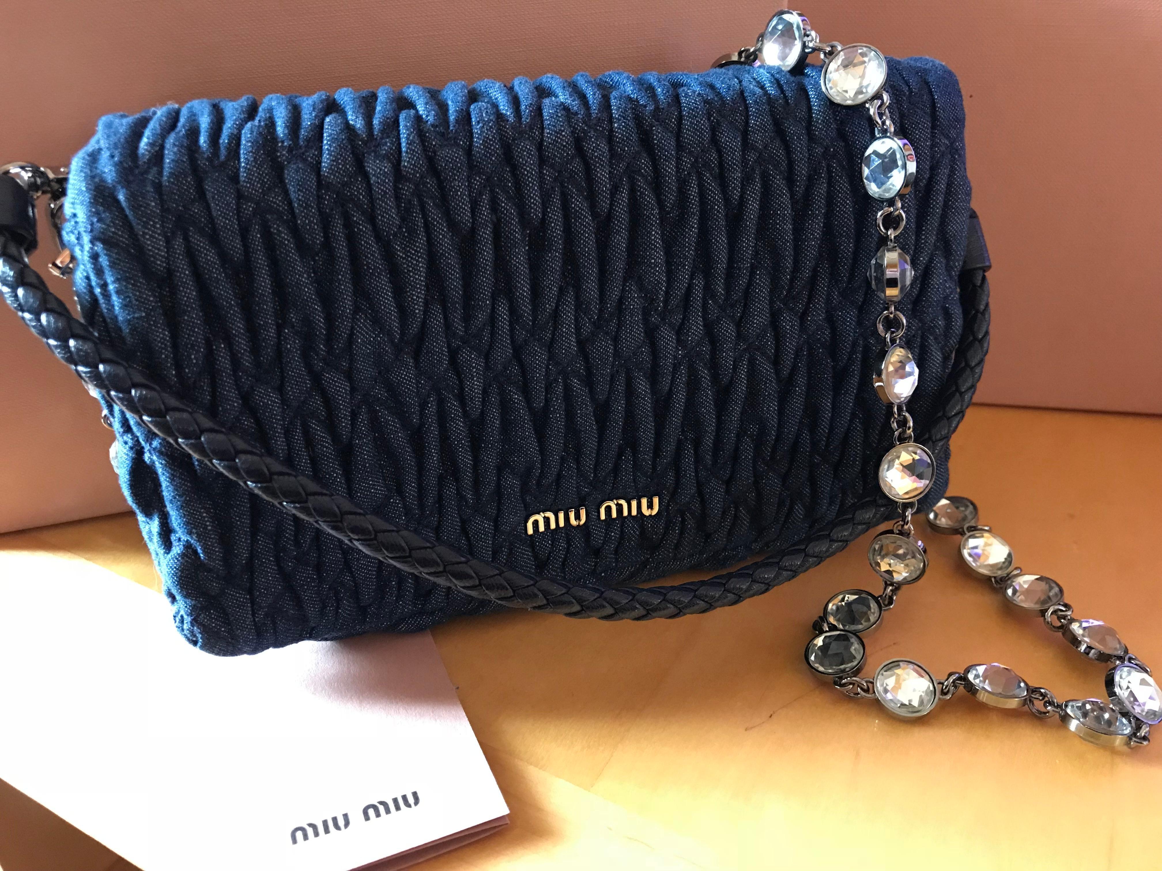 6b34ab3b43c1 ... Miu Miu Crystal Clutch Matelasse Denim Small - (Detachable Leather and Crystal  strap)