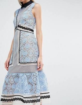 76492b08e556 ... Self Portrait Blue Floral Panel Midi Dress ...