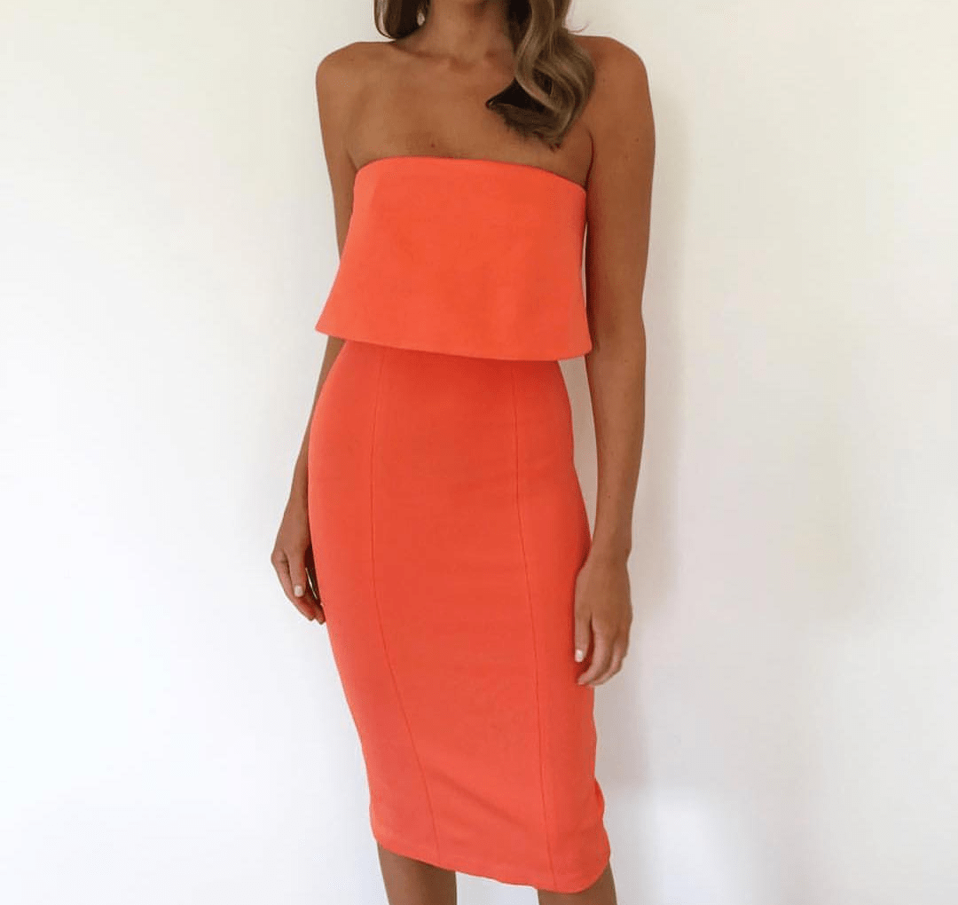 4f53f8cf49 Kookai Selina Strapless Midi Dress Orange 6 | The Volte