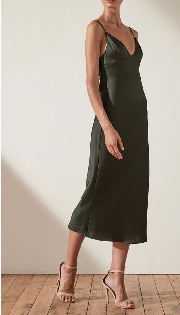 Shona Joy Khaki Bias Midi Slip Dress Size 8 The Volte