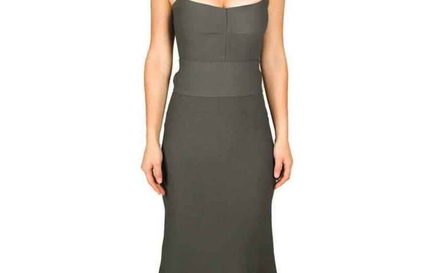 d586158190fb7 Scanlan theodore crepe knit bralette dress safari green size jpg 895x554 Bralette  dress leather scanlan theodore