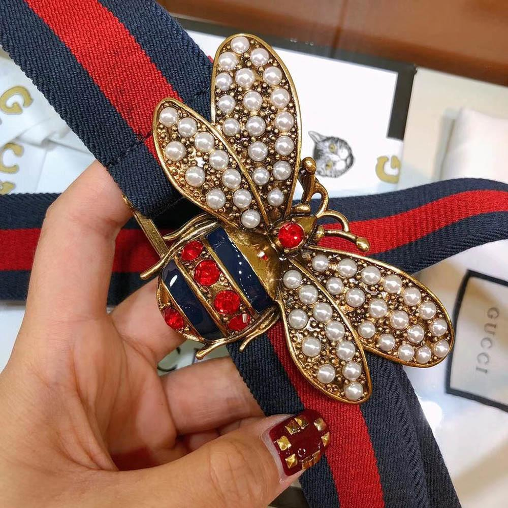 7fdff45ad8e Gucci Crystal   Pearl Bee Web Belt
