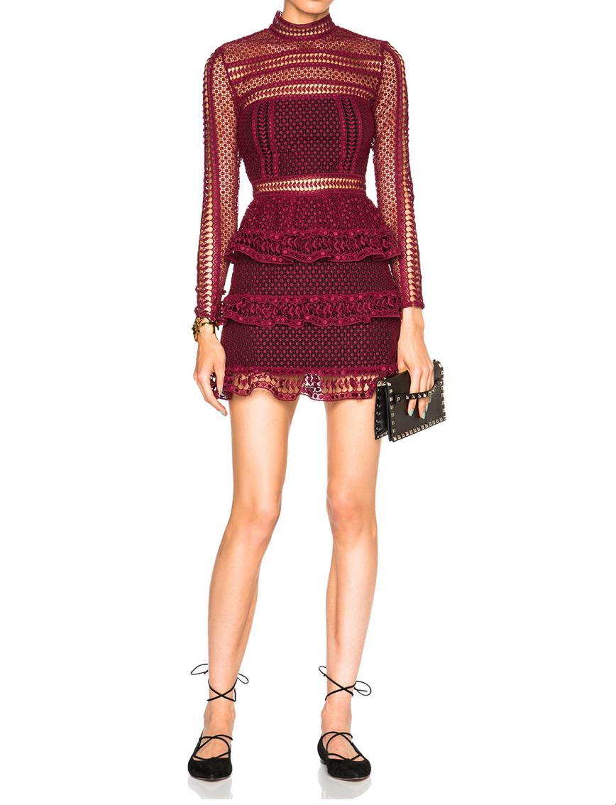 0a10c5fc5f59 Self portrait Tiered Guipure Lace Mini Dress - Burgundy Sz 8 | The Volte