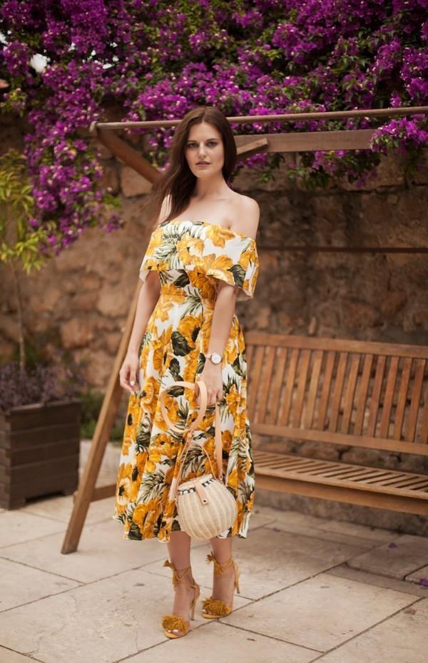 b5dd8f8e5cbea ASOS Golden Floral Bardot Midi Dress | The Volte