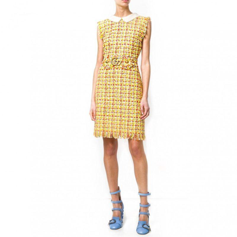 ff69ea290 GUCCI Tweed GG Logo Mini Dress – Yellow | The Volte