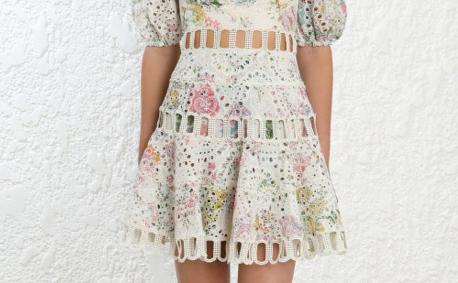 716da9fd80b87 Zimmermann - Heathers off Shoulder Cream & Pink Floral Dress Sz8 | The Volte