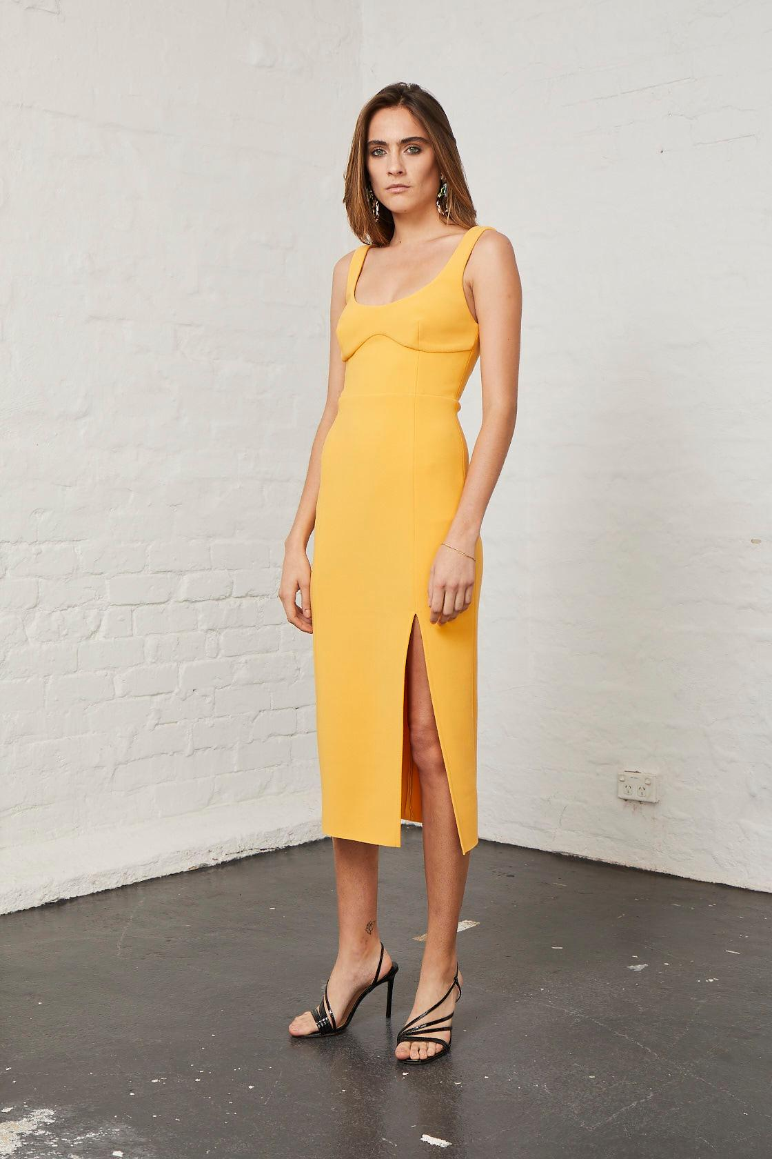 Bec Amp Bridge Elle Midi Dress In Mango Orange Sz 6 The