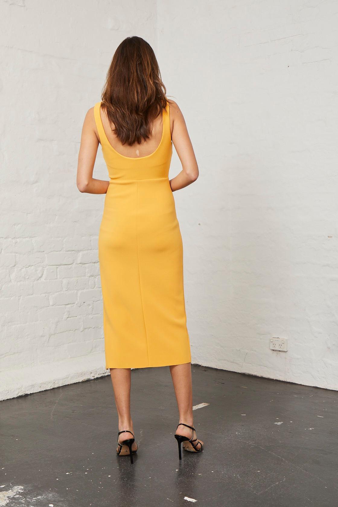 Bec & Bridge Elle Midi Dress in Mango Orange Sz 6 | The Volte