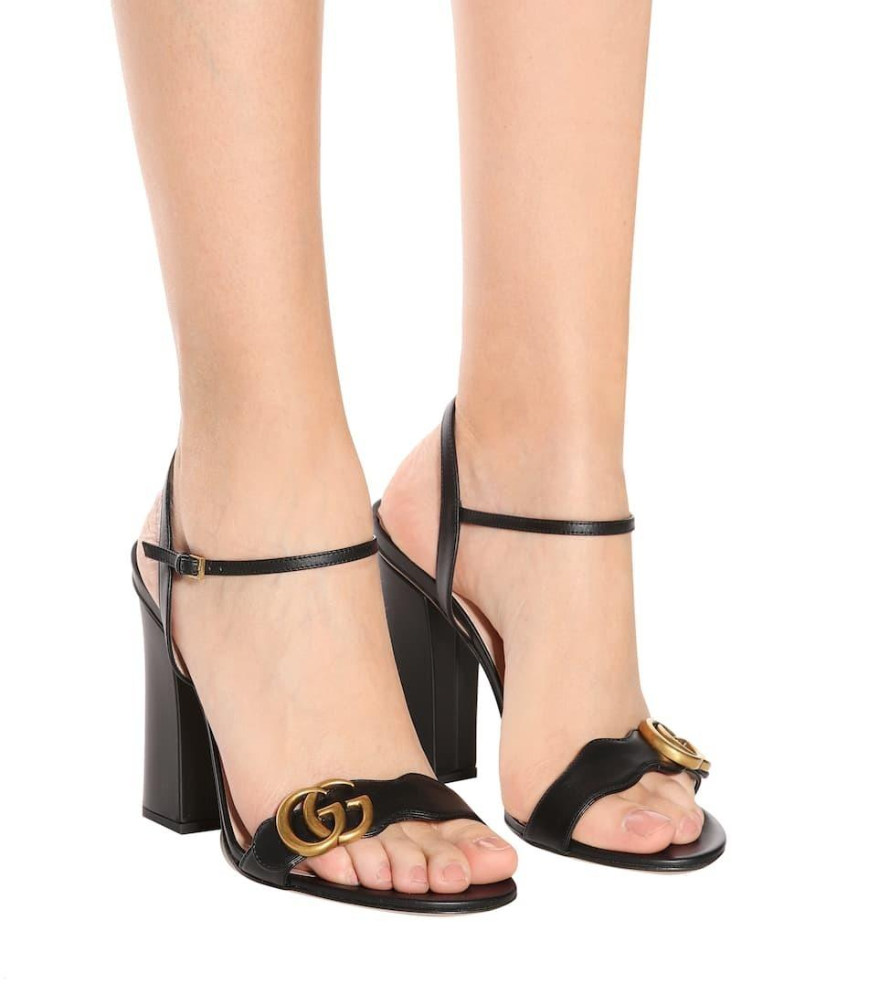 5d47dca6d Gucci Marmont Embellished suede sandals in black | The Volte