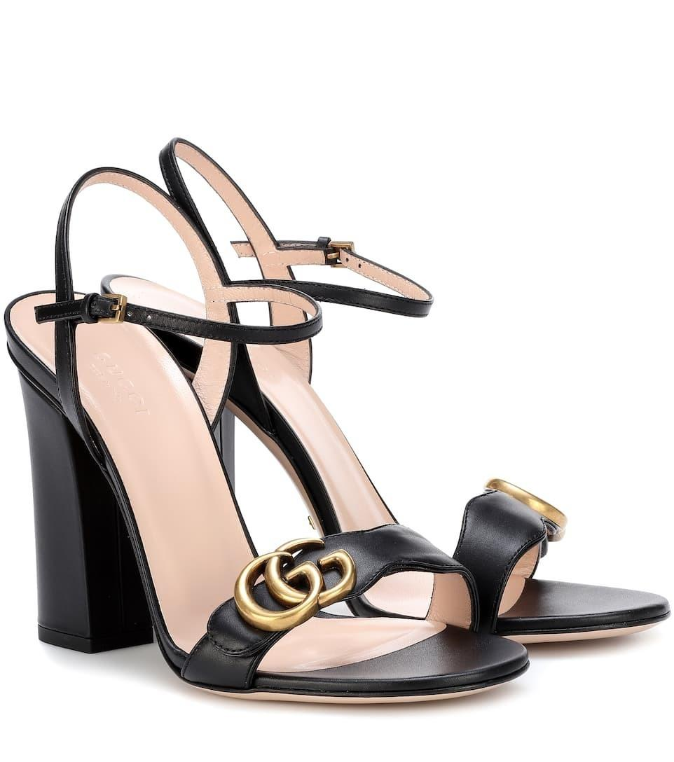 ccce5ffd3b16a9 Gucci Marmont Embellished suede sandals in black