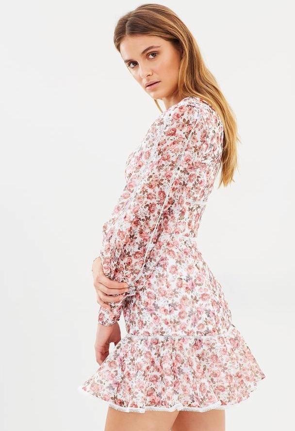 Keepsake The Label One Love Long Sleeve Mini Dress Pink