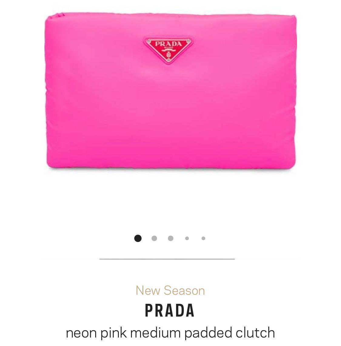 acb6f0e2b4e87f PRADA neon pink medium padded clutch | The Volte