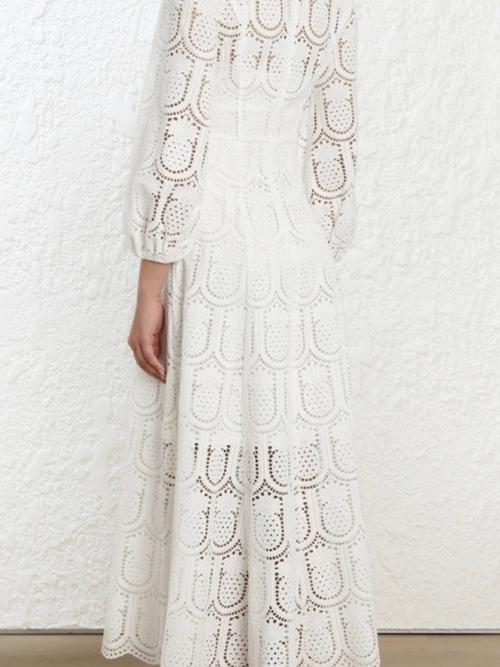 b1d8603d9137 SZ 2 ZIMMERMANN WAYFARER WHITE EMBROIDERY LONG DRESS | The Volte