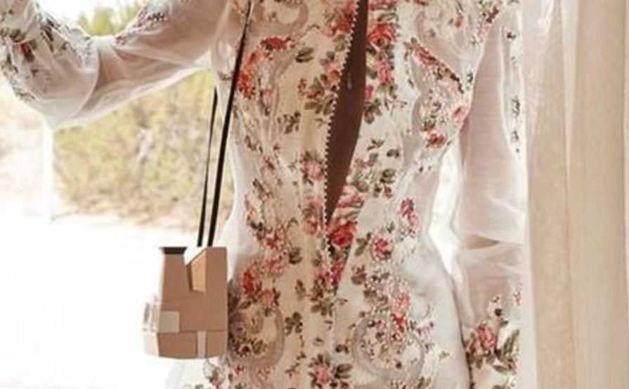 Zimmermann radiate appliqué shirt dress pink floral size the volte