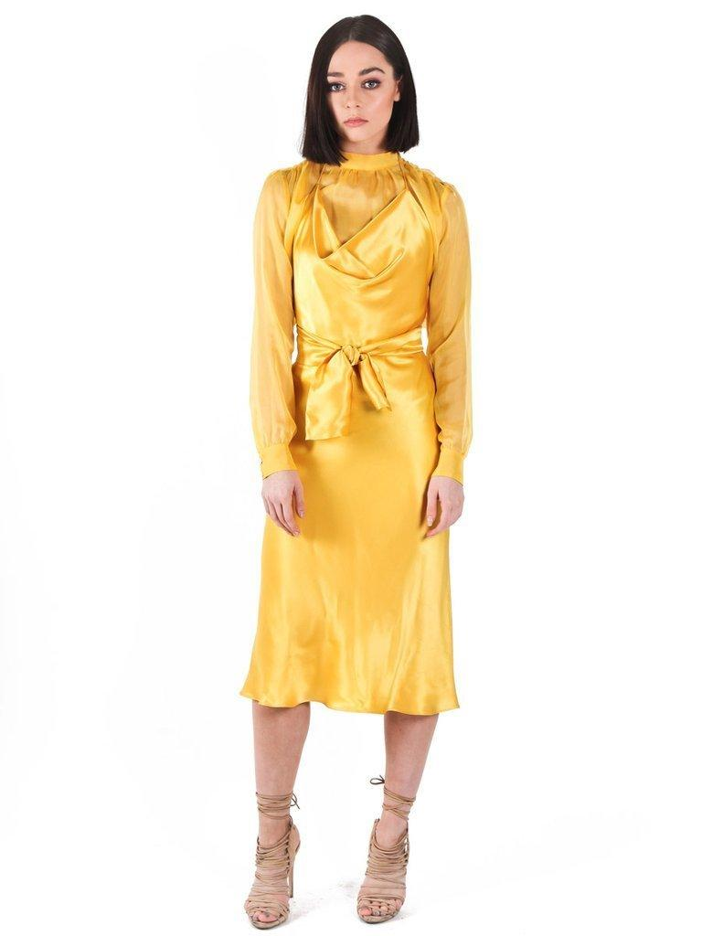 b43647aa49eb Yeojin Bae Silk Satin Emily Dress Yellow Size 8 | The Volte