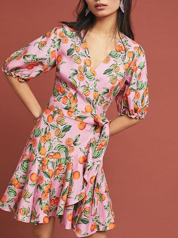 FINDERS KEEPERS ARANCIATA WRAP PINK ORANGE DRESS SIZE 6