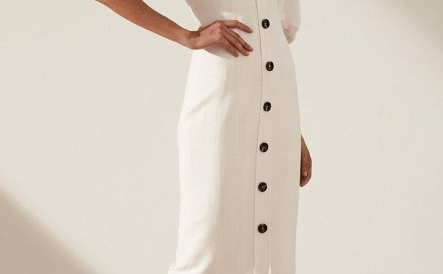 1164c2f76b Shona Joy GAIA LINEN FITTED MIDI DRESS - IVORY WHITE SZ 6 ...