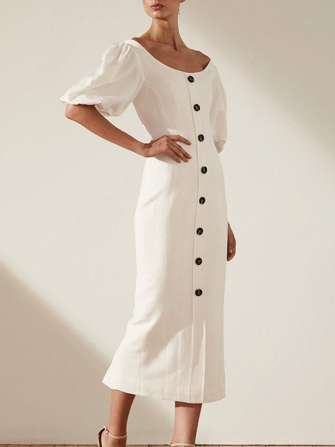 b26d1f09f4 Shona Joy GAIA LINEN FITTED MIDI DRESS - IVORY WHITE SZ 6