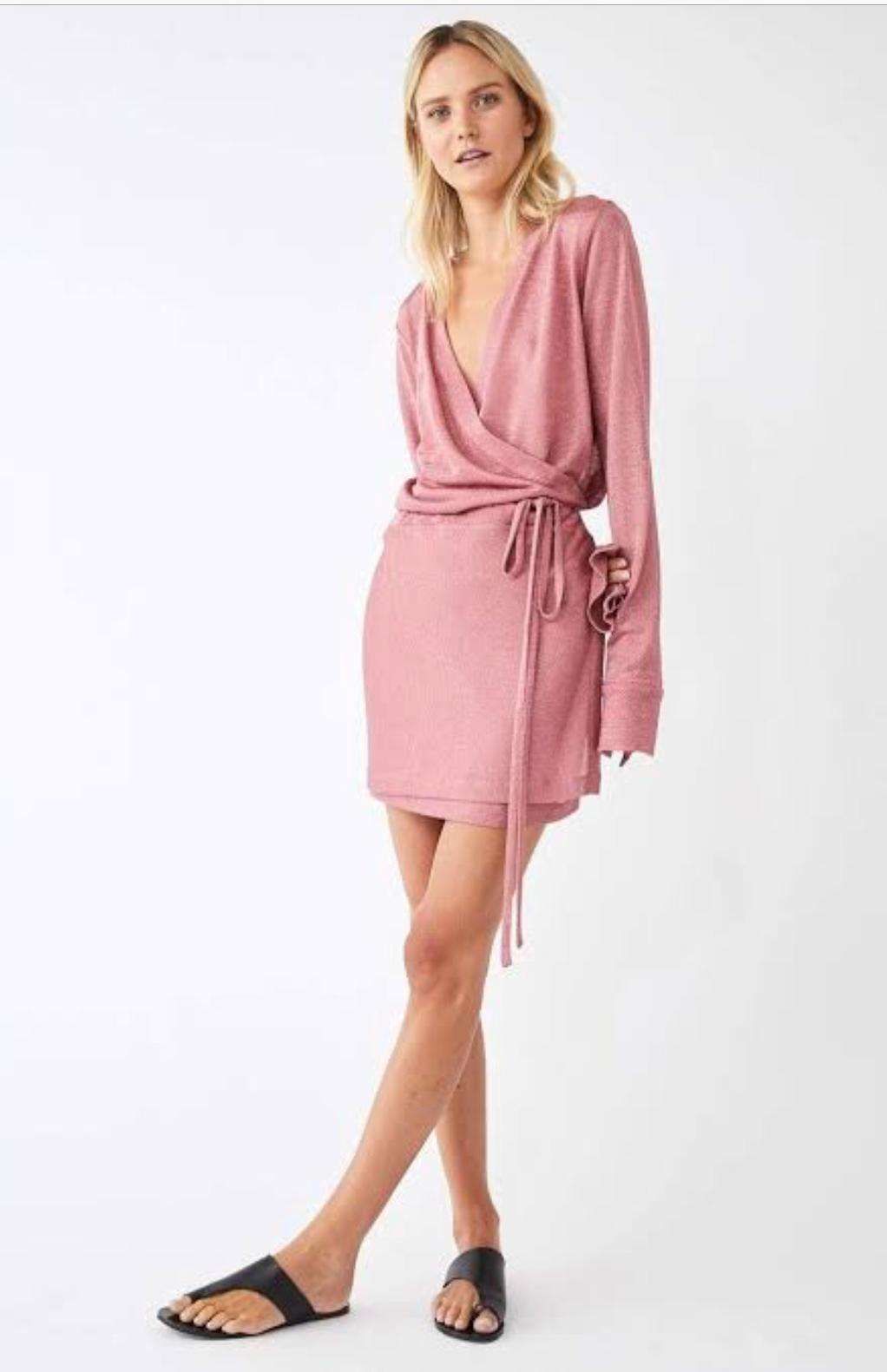 064a67339 Kacey Devlin Formation Mini Wrap Dress Metallic Pink size 8 / 10 | The Volte