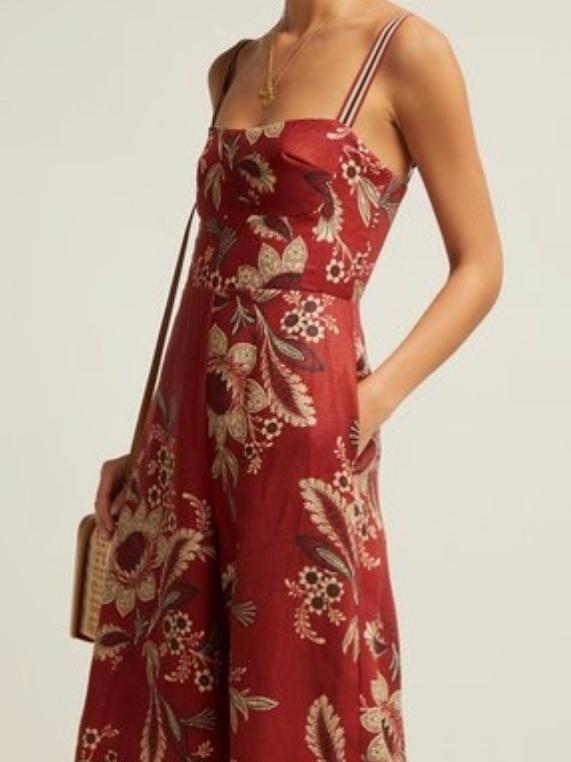 97732d579e2 Zimmermann Juno floral linen print jumpsuit Rust Red sz 8   zimm 1 ...