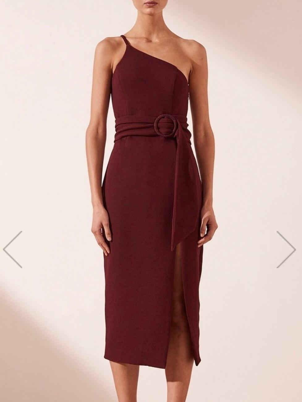 Shona Joy Andrea One Shoulder Fitted Midi Dress Burgundy 6