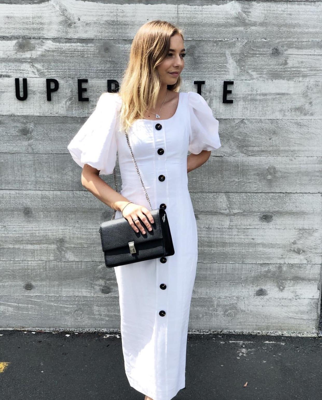 Shona Joy Gaia Linen Fitted Midi Dress Ivory Size 8 | The Volte