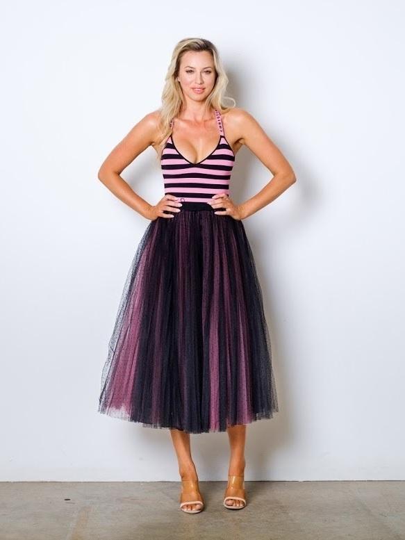Dior Tulle Pleated Dot Skirt Amp J 225 Dior Logo Bodysuit Pink