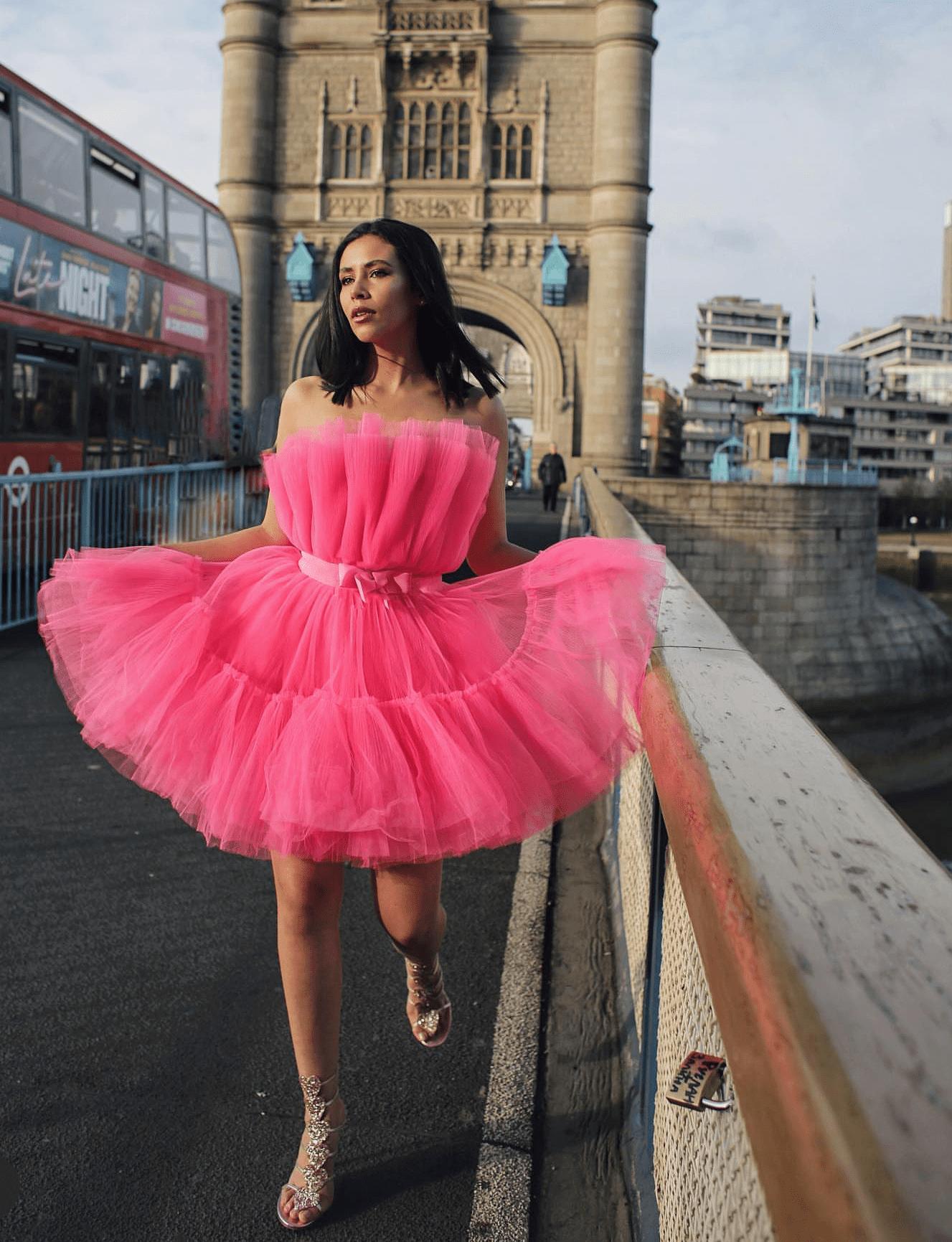 Giambattista Valli Pink Flared Tulle Dress Size 10 The Volte