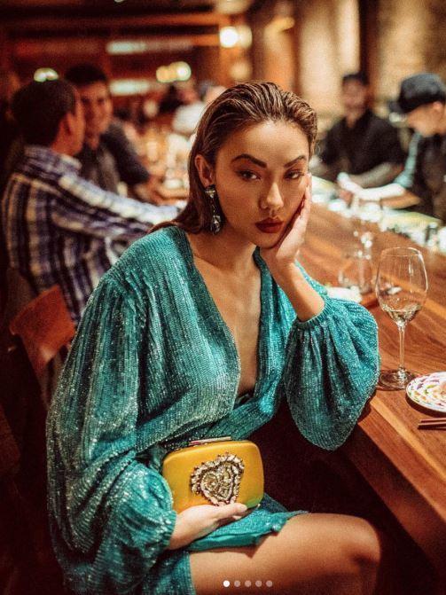 9562fdb3f279 RETROFETE Green Gabrielle Sequin Wrap Mini Dress Size 8 | The Volte