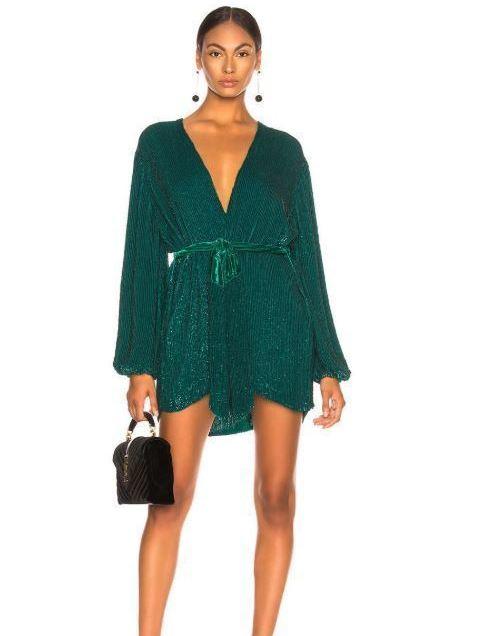 ebb77118ae37 RETROFETE Green Gabrielle Sequin Wrap Mini Dress Size 12 | The Volte