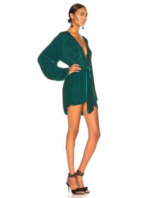 42577a159af7 RETROFETE Green Gabrielle Sequin Wrap Mini Dress Size 6 | The Volte